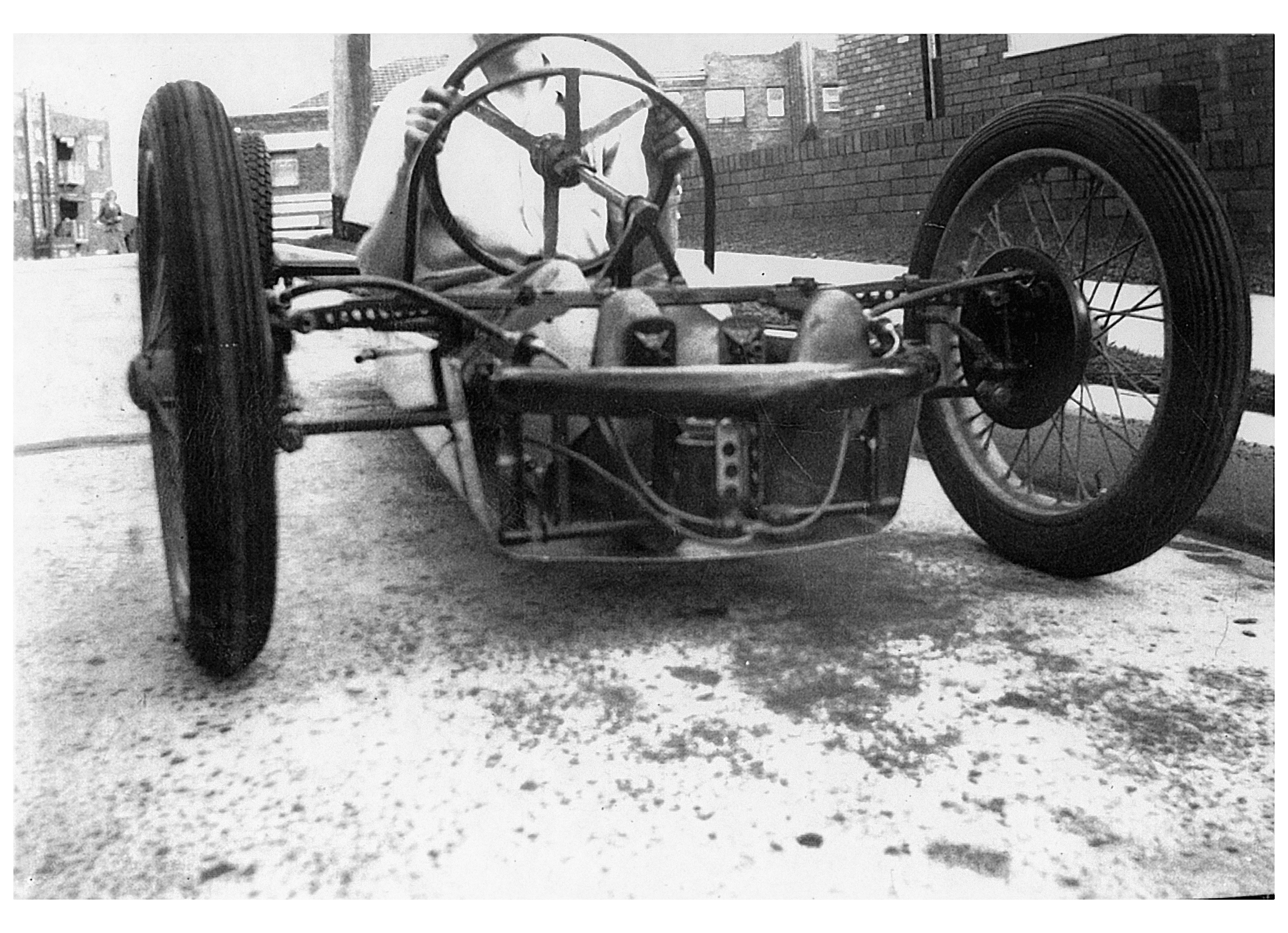 Above: Early Front View With The Large Diameter Wheels And Motorcycle Tyres  And No Dampers.